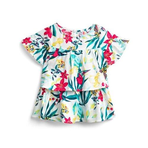 Блузка playToday размер 104, белый/красный/голубой худи playtoday размер 104 серый красный