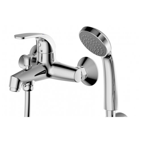 Фото - Смеситель для ванны с коротким изливом с аксессуарами Bravat Fit (F6135188CP-B-RUS) смеситель для ванны bravat fit f6135188cp b rus хром