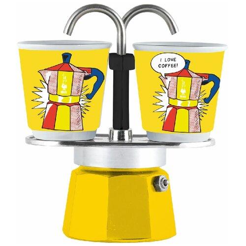 Набор гейзерная кофеварка Bialetti Mini Express Arte Lichtenstein с 2 стаканами