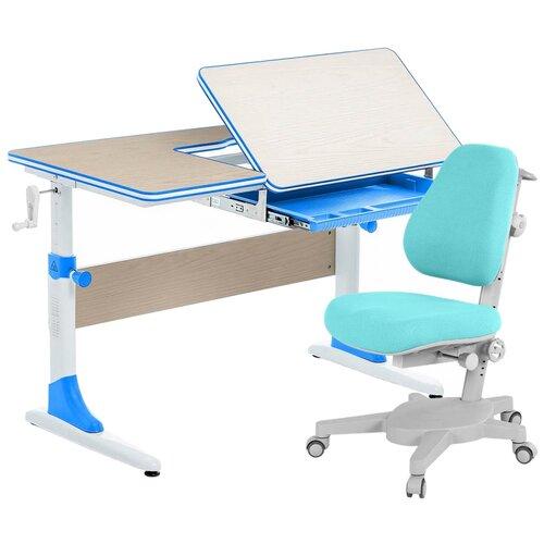 Комплект Anatomica парта + кресло Smart-40 (Armata) 100x60 см клен/голубой комплект anatomica smart 60 парта study 120 lux кресло armata duos надстройка органайзер ящик клен серый зеленый
