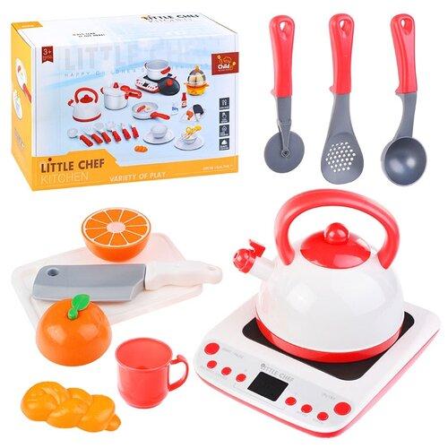 Набор посуды Oubaoloon Кухня, с плитой, чайником и продуктами, в коробке (BC9004)
