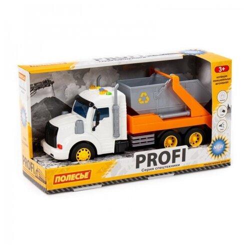 Машинка инерционная Полесье PROFI Контейнеровоз оранжевый, со светом и звуком (в коробке)