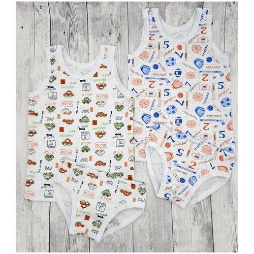 Купить Набор белья Машинки и мячики маечка + трусики 2 шт, размер 104, 110-56, MilleFaMille, Белье и пляжная мода