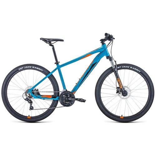"""Горный (MTB) велосипед FORWARD Apache 27.5 3.2 Disc (2021) синий/оранжевый 19"""" (требует финальной сборки)"""