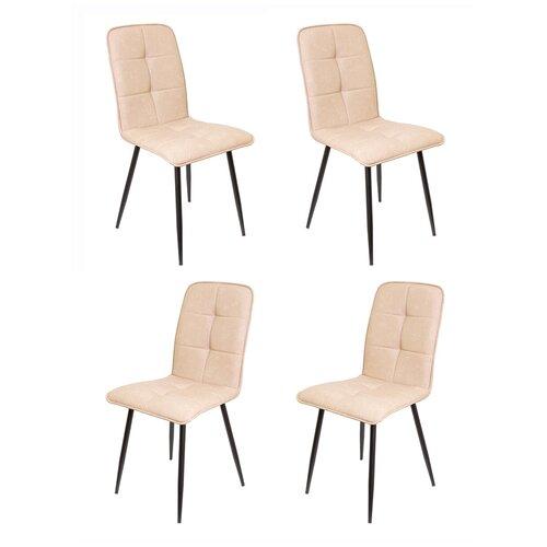 Комплект кухонных стульев (4 шт.), СтолБери, Пежо, кожзам капучино, металлокаркас муар чёрный