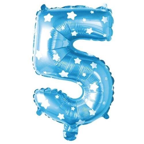 Фото - Шар фольгированный 40 Цифра 5, цвет голубой, звезды 2769721 воздушный шар страна карнавалия цифра 5 сиреневый