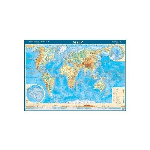 Геоцентр Карта Мира физическая (МИРФ28АГТ), 120 × 80 см