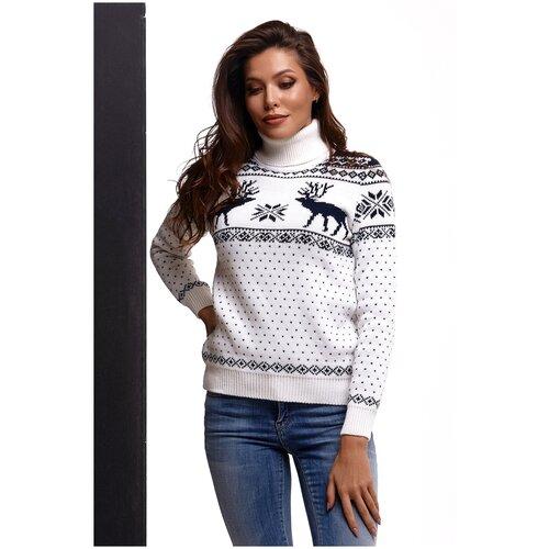 Женский свитер, классический скандинавский орнамент с Оленями и снежинками, натуральная шерсть, белый, синий цвет, размер S
