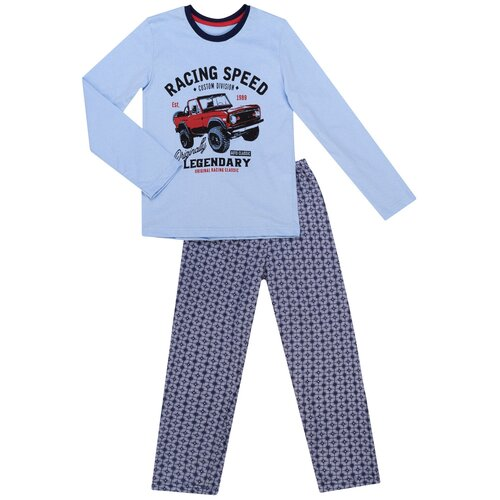 Купить Пижама для мальчика ПЖ-1813, Утенок, размер 64(рост 122-128) голубой_авто, Домашняя одежда