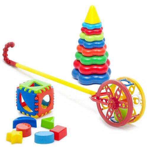 Купить Набор развивающий Каталка Колесо + Игрушка Кубик логический малый + Пирамида детская большая Karolina toys, Развивающие игрушки