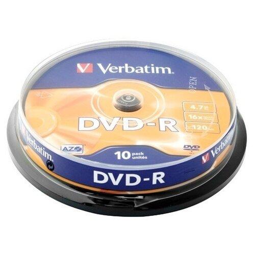 Фото - Диск Verbatim DVD-R 4.7Gb 16x 10шт Cake Box диск dvd r 4 7gb verbatim 16x cake box 10шт