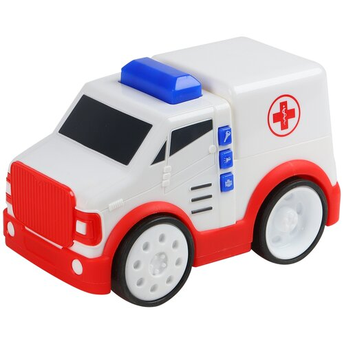 Машинка детская Скорая помощь с реалистичными звуками и световым эффектом, едет при нажатии на кнопку на кабине, в/к 20,6*11,6*13,5см