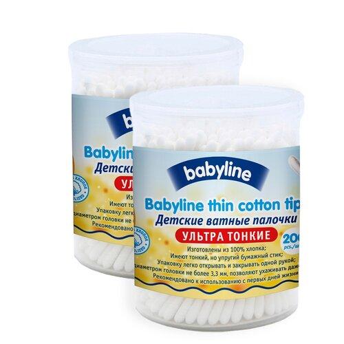 Ватные палочки Baby Line детские ультра тонкие, 200 шт., 2 уп.