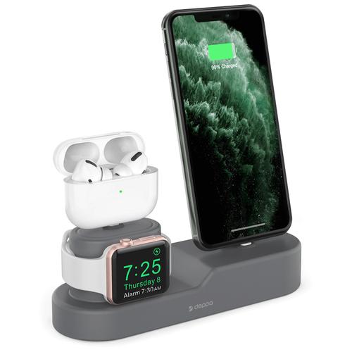Стенд подставка для зарядки Apple Watch / iPhone / AirPods док станция 3 в 1 силикон (кабели не входят в комплект)