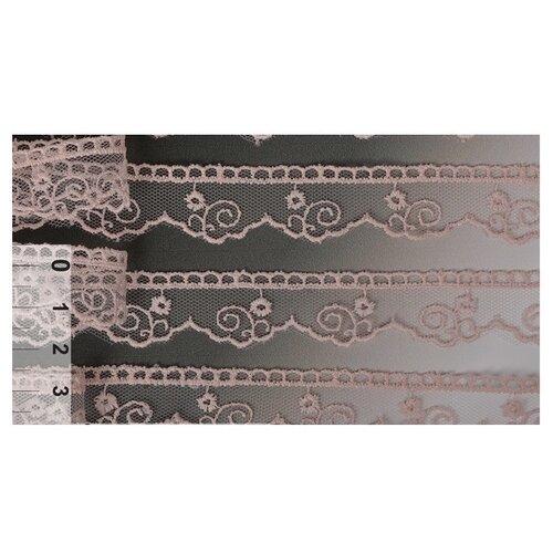 Купить Кружево на сетке KRUZHEVO TR.4890 шир.20мм цв.226 розовая пудра уп.14м, Декоративные элементы