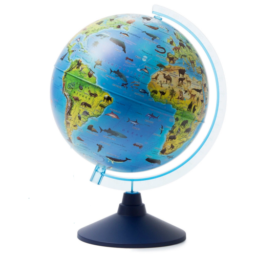 Интерактивный глобус Зоогеографический (Детский) 32 см., с подсветкой от батареек + Атлас + VR очки в комплекте