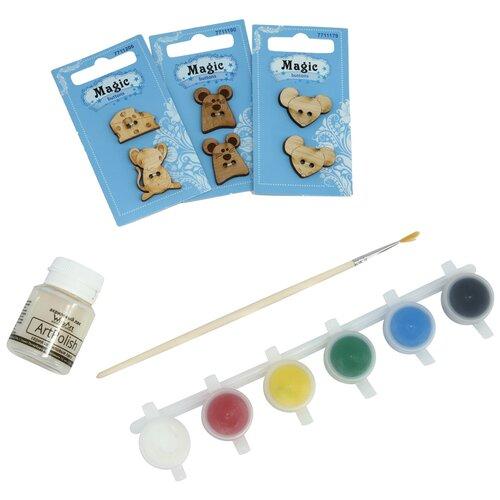 Купить Набор пуговиц для раскрашивания 'Мышки' (2-3см), с красками, Astra&Craft, Astra & Craft, Роспись предметов