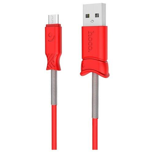 Фото - Кабель Hoco X24 Pisces USB - microUSB, 1 шт., красный, 1 м кабель hoco x24 pisces usb usb type c 1 м черный