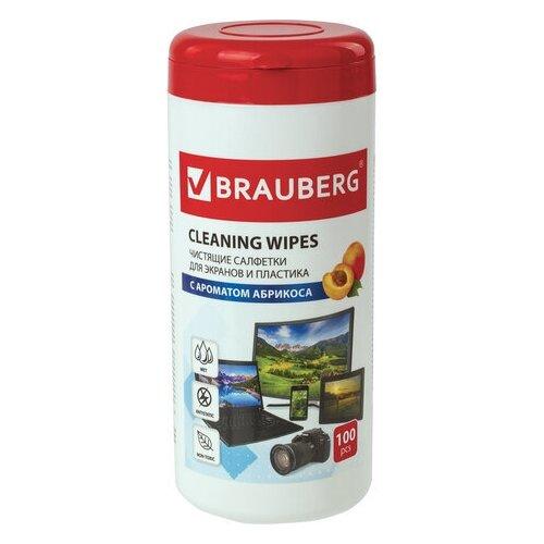 Салфетки для экранов всех типов и пластика BRAUBERG с ароматом АБРИКОС туба 100 шт. влажные 513321