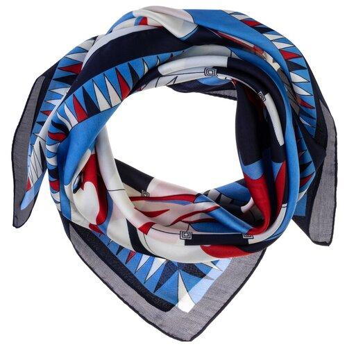 Шелковый платок на шею/Платок шелковый на голову/женский/Шейный шелковый платок/стильный/модный /21kdg70951101-14vr Белый,Синий/Vittorio Richi/80% шелк,20% полиэстер/70x70