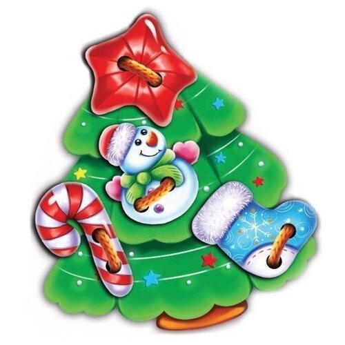 Купить Шнуровка Учитель Ассорти Ёлочка с игрушками (ИДШ-4) зеленый, Шнуровки