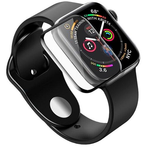 Полноэкранное защитное стекло для Apple Watch 4D Full Glue Full Screen 5 series (40mm) / Защитное стекло для Эпл Вотч 5 серии (40мм) / 3D Полная проклейка экрана (Черный)