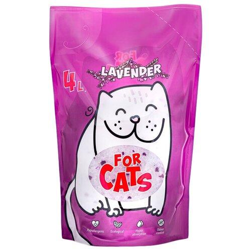 Фото - Впитывающий наполнитель For Cats с ароматом лаванды, 4 л впитывающий наполнитель for cats с ароматом зеленого чая 4 л