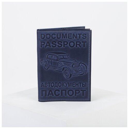 Обложка для автодокументов+паспорт, 9,5*0,3*13,5, синий 3504119