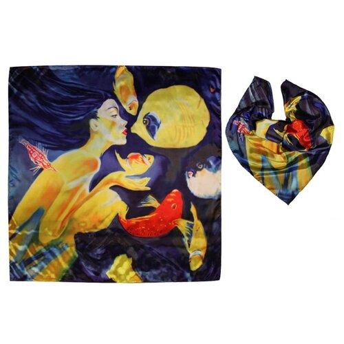 Платок женский, вискоза, разноцветный, с авторским арт-принтом Оланж Ассорти