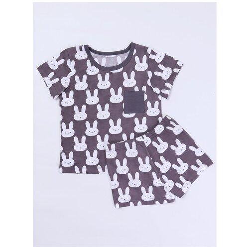 30315 Комплект: Футболка, шорты Mint Rabbit, КотМарКот, размер 116, состав:100% хлопок, цвет Белый 5830890 шорты котмаркот размер 116 состав полиэстер 83% спандекс 17% цвет мультиколор