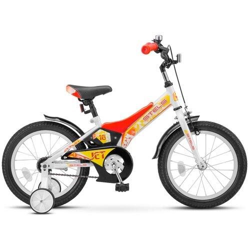Детский велосипед STELS Jet 16 Z010 (2021) белый/красный 9 (требует финальной сборки) детский велосипед stels jet 14 z010 2018 белый синий 8 5 требует финальной сборки