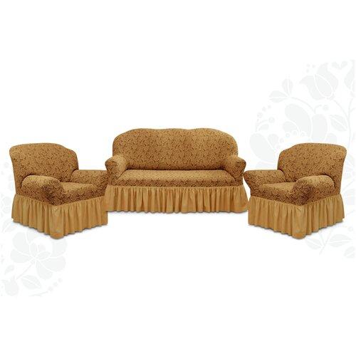 Чехлы с оборкой Евро Престиж дизайн 10096 на Диван+2 Кресла, кофе с молоком