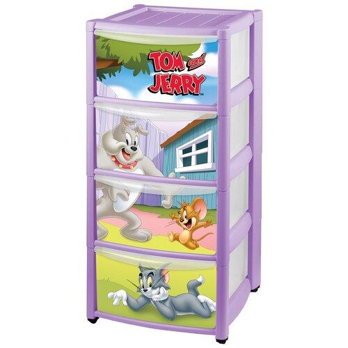 Купить Бельевой комод Пластишка Tom&Jerry на колесах 4 ящика сиреневый, Детские комоды
