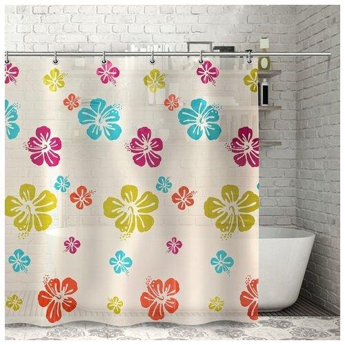 Фото - Штора для ванной Гавайская роза, 180х180 см, PEVA 3622253 штора для ванной доляна графика 180х180 732658 синий