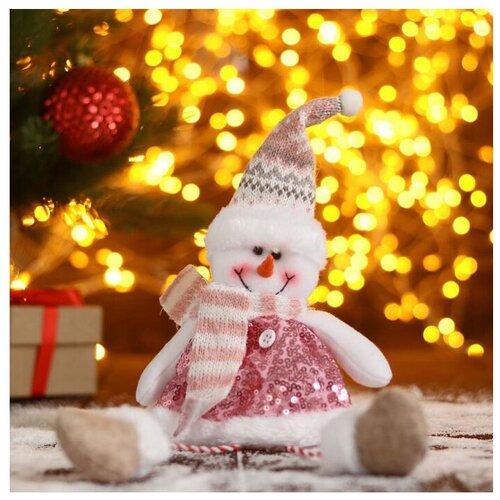 Елочная игрушка Зимнее волшебство Снеговик в пайетках-длинные ножки, розовый