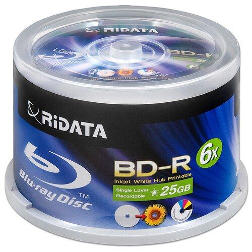 Фото - Диск BD-R 25Gb RiData (Ritek) 6x Full Printable cake, упаковка 50 штук. диск bd r 50gb cmc 6x full printable bulk упаковка 10 штук