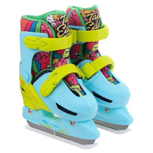 Детские прогулочные коньки Onlitop Take it Easy 223W бирюзовый/разноцветный р. 26-29