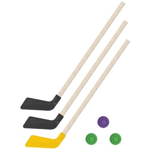 Детский хоккейный набор зима,лето 3 в 1/ Клюшки хоккейных 80 см (2 черных, 1 желтая) + 3 шайбы, Задира-плюс