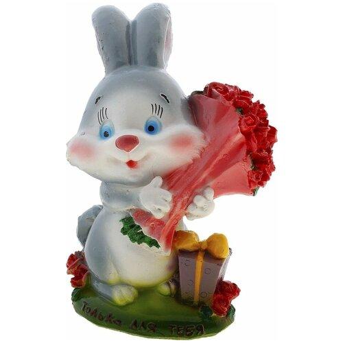 Копилка Хорошие сувениры Кролик с букетом роз, гипс 17см (447382) разноцветный