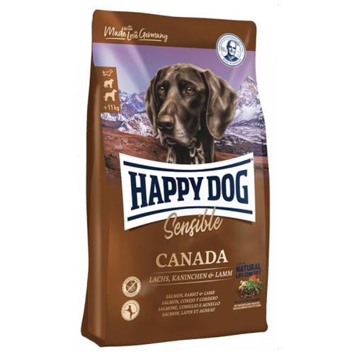 Сухой корм для собак Happy Dog Supreme Sensible Canada, беззерновой, при чувствительном пищеварении, лосось, кролик, ягненок, с картофелем 4 кг (для средних и крупных пород) корм сухой happy dog тоскана для собак средних и крупных пород с уткой и лососем 4 кг