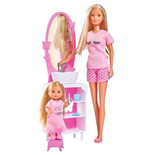 Фото - Набор кукол Steffi Love Штеффи и Еви Время умываться, 29 и 12 см, 5733198029 набор кукол simba еви с малышом на прогулке розовая коляска 12 см 5736241 2