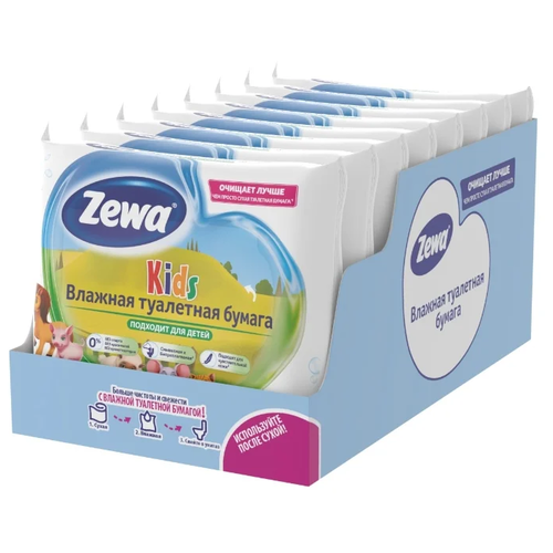 Влажная туалетная бумага Zewa Kids, липучка, 42 шт., 8 уп.
