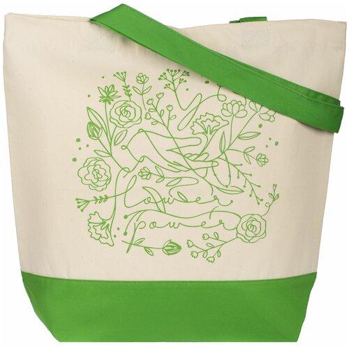 Сумка-шоппер Flower Power, ярко-зеленая