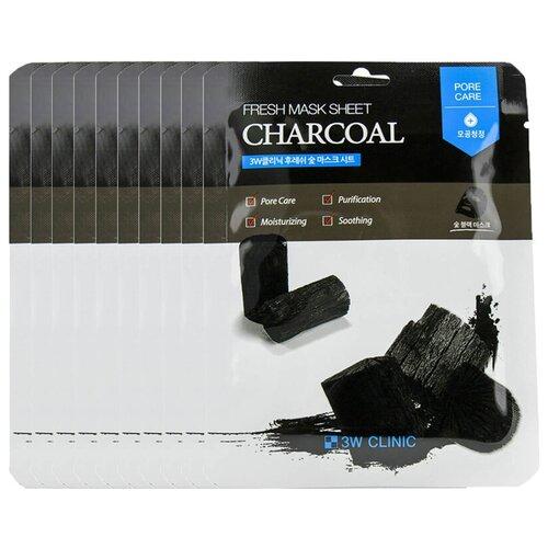 Купить 3W CLINIC Тканевая маска для лица с древесным углем Fresh Charcoal Mask Sheet 10шт 23 мл