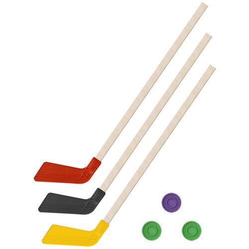 Детский хоккейный набор зима,лето 3 в 1/ Клюшки хоккейных 80 см красная, черная, желтая +3 шайбы, Задира-плюс