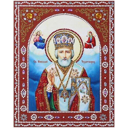 Купить Алмазная живопись Color Kit иконы фигурными стразами Святой Николай Чудотворец 20х25 IF005, Алмазная мозаика