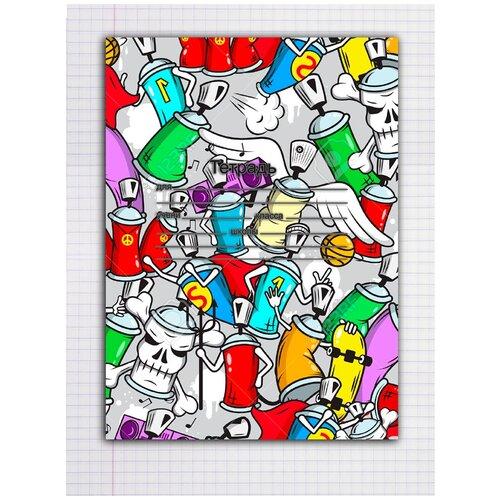Набор тетрадей 5 штук, 12 листов в клетку с рисунком Банки аэрозольные
