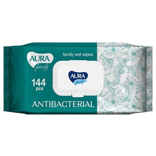 Влажные салфетки Aura Family антибактериальные, 144 шт.