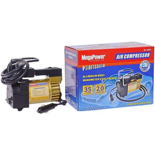 Автомобильный компрессор MegaPower M-14001 черный/золотистый