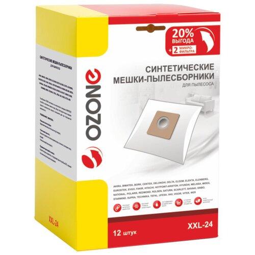 мешки пылесборники ozone xxl p05 бумажные 12 шт 2 микрофильтра для bosch siemens scarlett ufesa Синтетические мешки-пылесборники Ozone XXL-24 для пылесоса, 12 шт + 2 микрофильтра